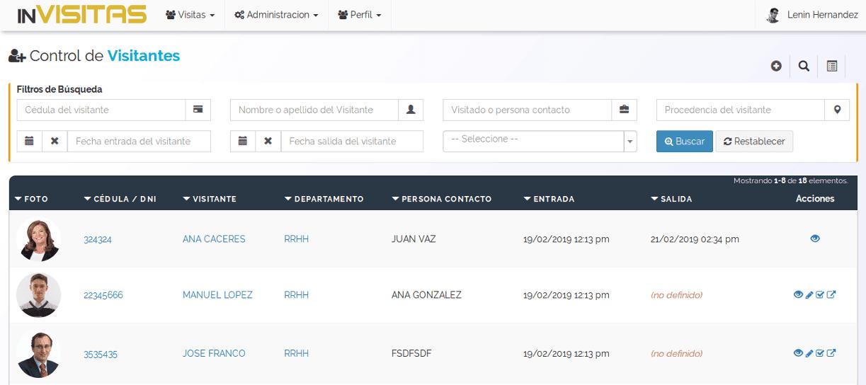 inVisitas - Sistema para control de entradas y salidas de visitantes a empresa